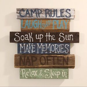 Other - Camp Rules Sign Cabin RV Camping Rustic Wall Art